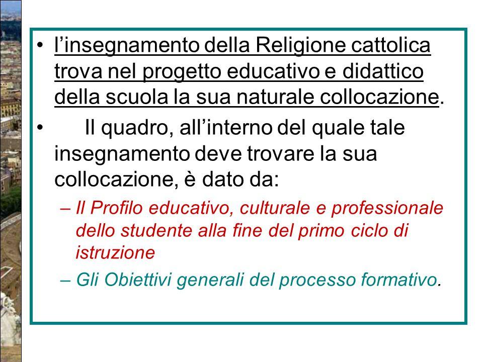 l'insegnamento della Religione cattolica trova nel progetto educativo e didattico della scuola la sua naturale collocazione. Il quadro, all'interno de