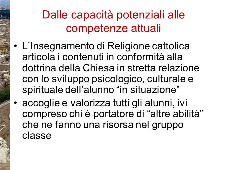 Dalle capacità potenziali alle competenze attuali L'Insegnamento di Religione cattolica articola i contenuti in conformità alla dottrina della Chiesa