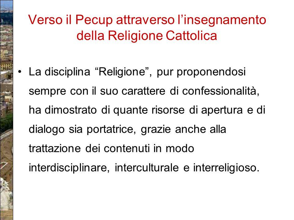 """Verso il Pecup attraverso l'insegnamento della Religione Cattolica La disciplina """"Religione"""", pur proponendosi sempre con il suo carattere di confessi"""