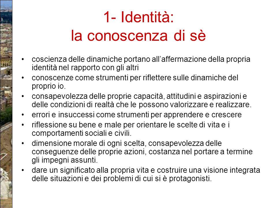 1- Identità: la conoscenza di sè coscienza delle dinamiche portano all'affermazione della propria identità nel rapporto con gli altri conoscenze come
