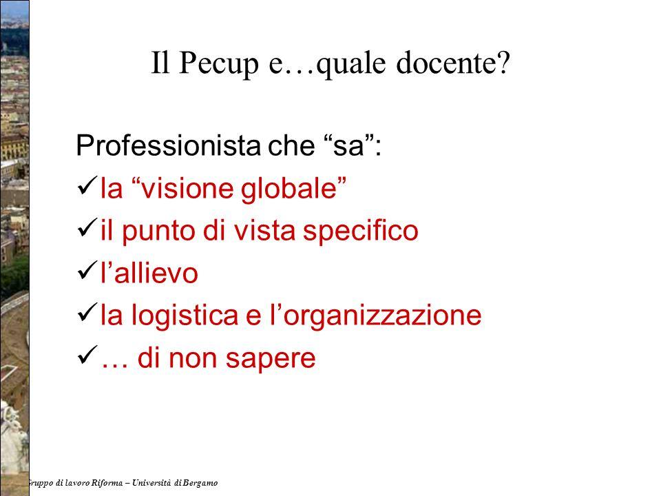 """Il Pecup e…quale docente? Professionista che """"sa"""": la """"visione globale"""" il punto di vista specifico l'allievo la logistica e l'organizzazione … di non"""