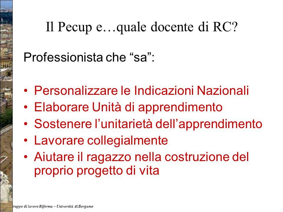 """Il Pecup e…quale docente di RC? Professionista che """"sa"""": Personalizzare le Indicazioni Nazionali Elaborare Unità di apprendimento Sostenere l'unitarie"""
