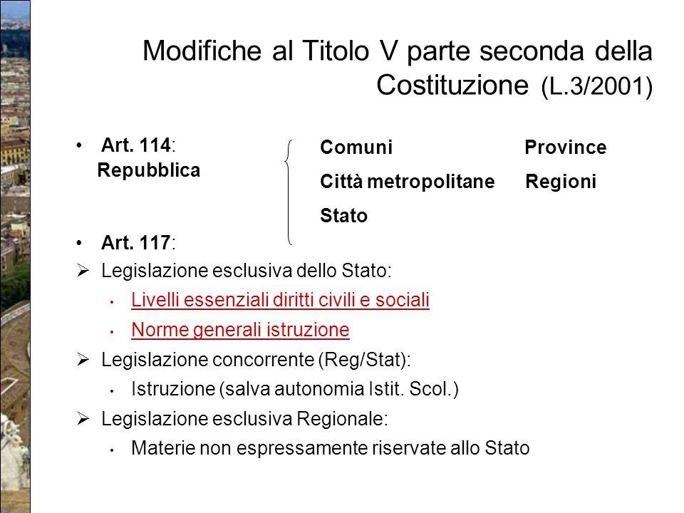 Modifiche al Titolo V parte seconda della Costituzione (L.3/2001) Art. 114: Repubblica Art. 117:  Legislazione esclusiva dello Stato: Livelli essenzi