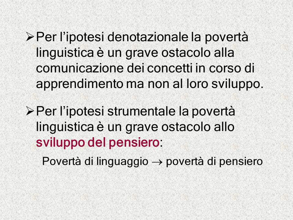  Per l'ipotesi denotazionale la povertà linguistica è un grave ostacolo alla comunicazione dei concetti in corso di apprendimento ma non al loro svil