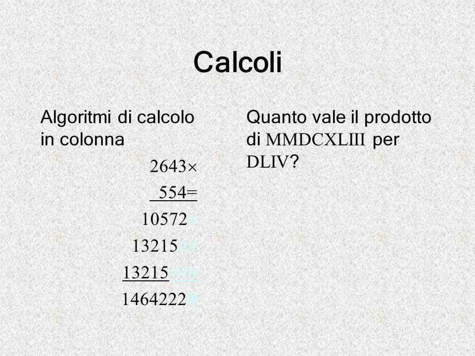 Calcoli Algoritmi di calcolo in colonna 2643  554= 10572# 13215## 13215### 1464222 # Quanto vale il prodotto di MMDCXLIII per DLIV ?