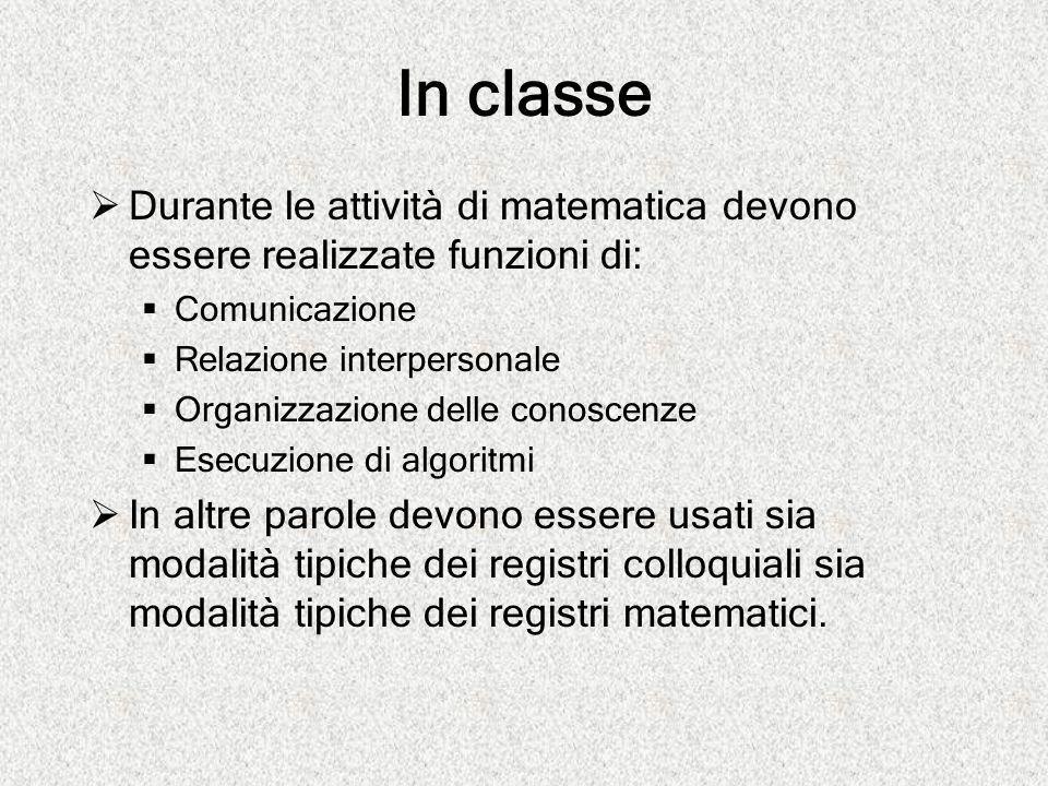 In classe  Durante le attività di matematica devono essere realizzate funzioni di:  Comunicazione  Relazione interpersonale  Organizzazione delle