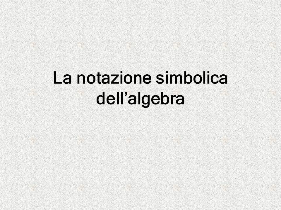 La notazione simbolica dell'algebra