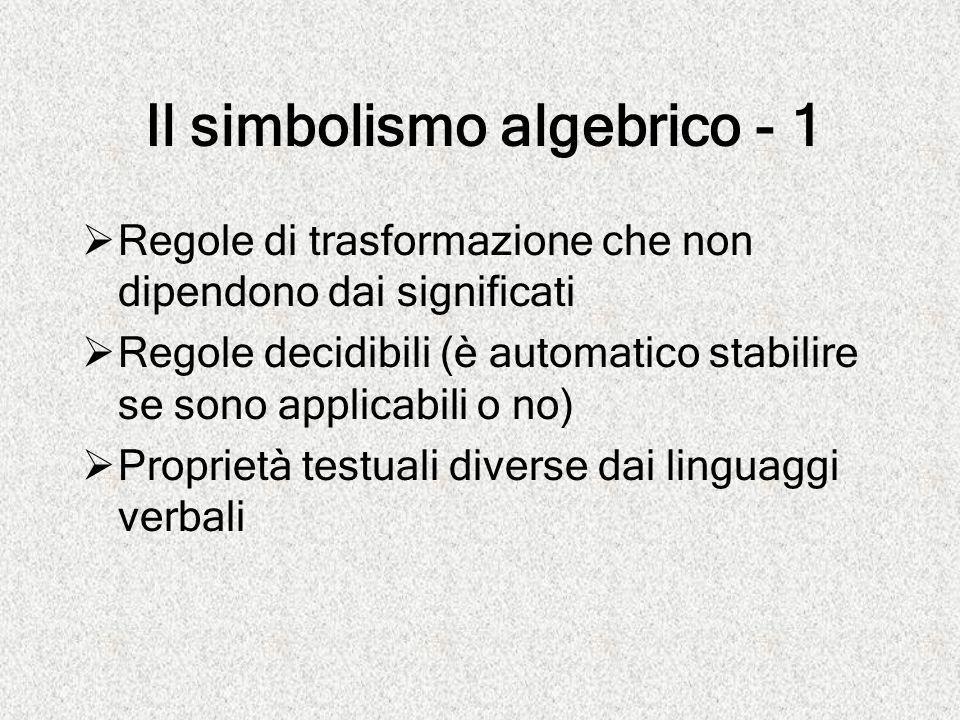 Il simbolismo algebrico - 1  Regole di trasformazione che non dipendono dai significati  Regole decidibili (è automatico stabilire se sono applicabi