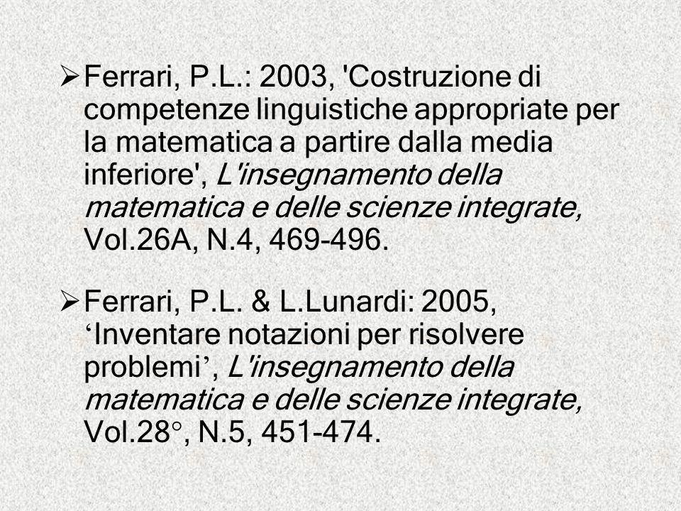  Ferrari, P.L.: 2003, 'Costruzione di competenze linguistiche appropriate per la matematica a partire dalla media inferiore', L'insegnamento della ma