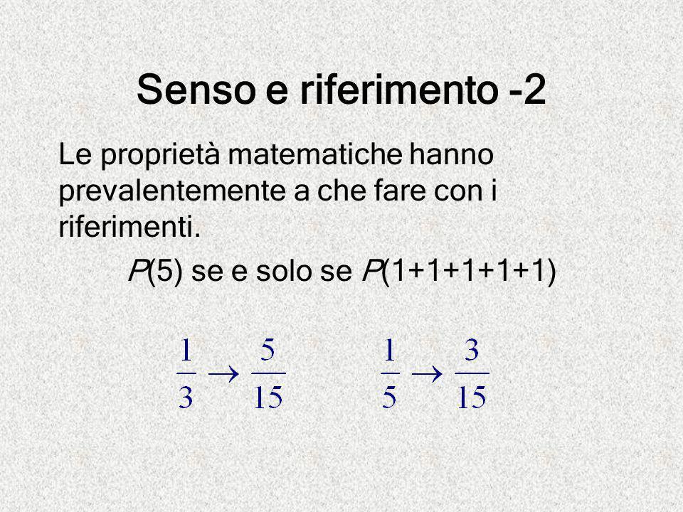 Senso e riferimento -2 Le proprietà matematiche hanno prevalentemente a che fare con i riferimenti. P(5) se e solo se P(1+1+1+1+1)