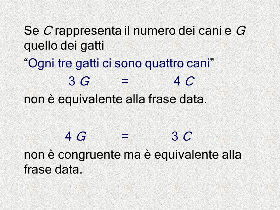 """Se C rappresenta il numero dei cani e G quello dei gatti """"Ogni tre gatti ci sono quattro cani"""" 3 G = 4 C non è equivalente alla frase data. 4 G = 3 C"""