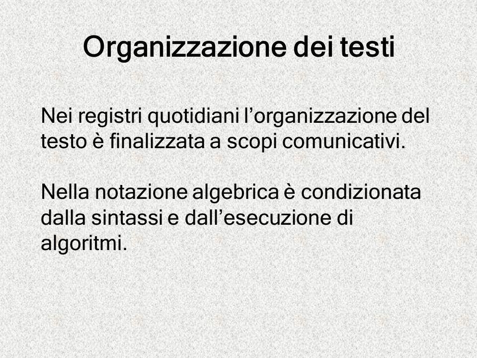 Organizzazione dei testi Nei registri quotidiani l'organizzazione del testo è finalizzata a scopi comunicativi. Nella notazione algebrica è condiziona
