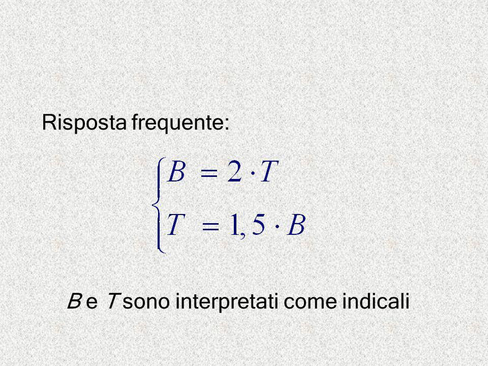 Risposta frequente: B e T sono interpretati come indicali