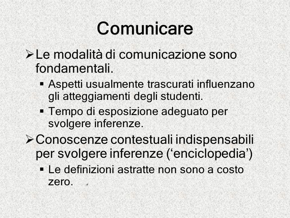Comunicare  Le modalità di comunicazione sono fondamentali.  Aspetti usualmente trascurati influenzano gli atteggiamenti degli studenti.  Tempo di