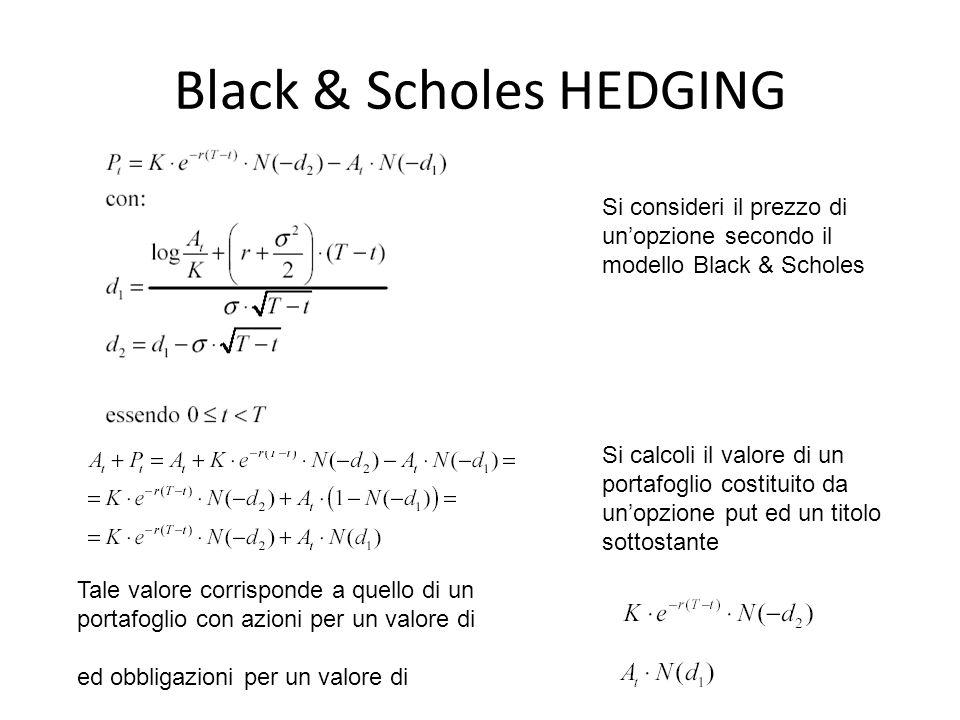Si consideri il prezzo di un'opzione secondo il modello Black & Scholes Tale valore corrisponde a quello di un portafoglio con azioni per un valore di ed obbligazioni per un valore di Si calcoli il valore di un portafoglio costituito da un'opzione put ed un titolo sottostante