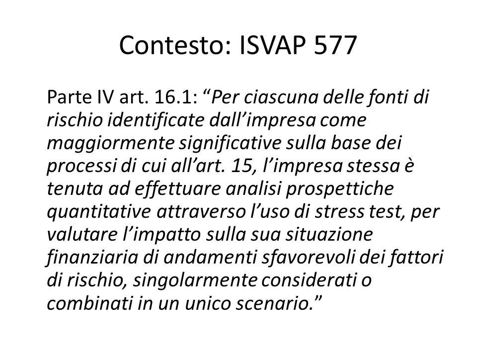 Contesto: ISVAP 577 Parte IV art.