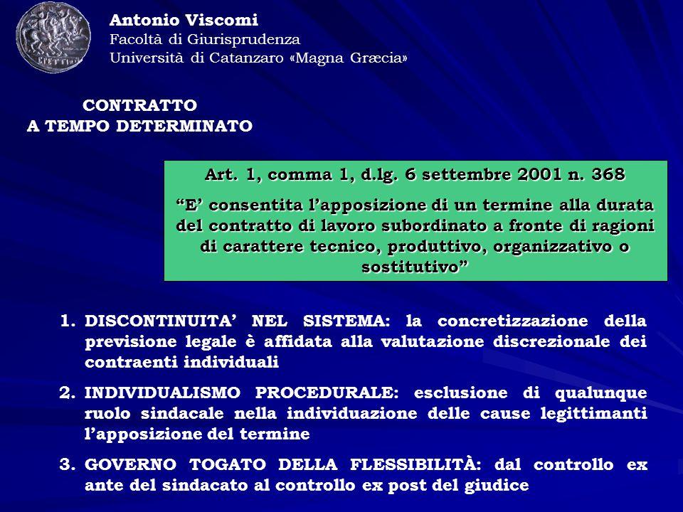 CONTRATTO A TEMPO DETERMINATO Antonio Viscomi Facoltà di Giurisprudenza Università di Catanzaro «Magna Græcia» Art.