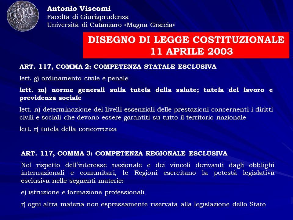 Antonio Viscomi Facoltà di Giurisprudenza Università di Catanzaro «Magna Græcia» DISEGNO DI LEGGE COSTITUZIONALE 11 APRILE 2003 ART.
