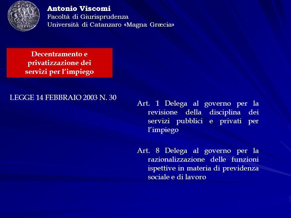 Antonio Viscomi Facoltà di Giurisprudenza Università di Catanzaro «Magna Græcia» LEGGE 14 FEBBRAIO 2003 N.