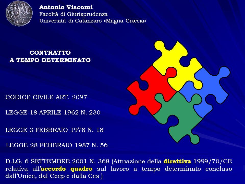 CODICE CIVILE ART. 2097 LEGGE 18 APRILE 1962 N. 230 LEGGE 3 FEBBRAIO 1978 N.