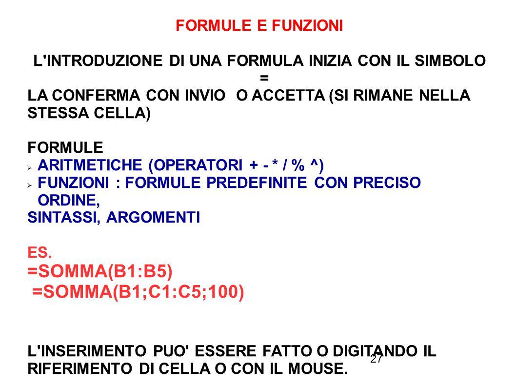 27 FORMULE E FUNZIONI L'INTRODUZIONE DI UNA FORMULA INIZIA CON IL SIMBOLO = LA CONFERMA CON INVIO O ACCETTA (SI RIMANE NELLA STESSA CELLA) FORMULE  A