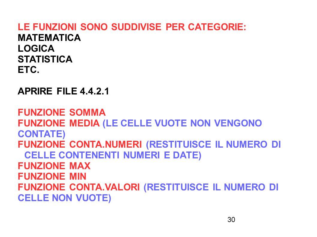 30 LE FUNZIONI SONO SUDDIVISE PER CATEGORIE: MATEMATICA LOGICA STATISTICA ETC. APRIRE FILE 4.4.2.1 FUNZIONE SOMMA FUNZIONE MEDIA (LE CELLE VUOTE NON V