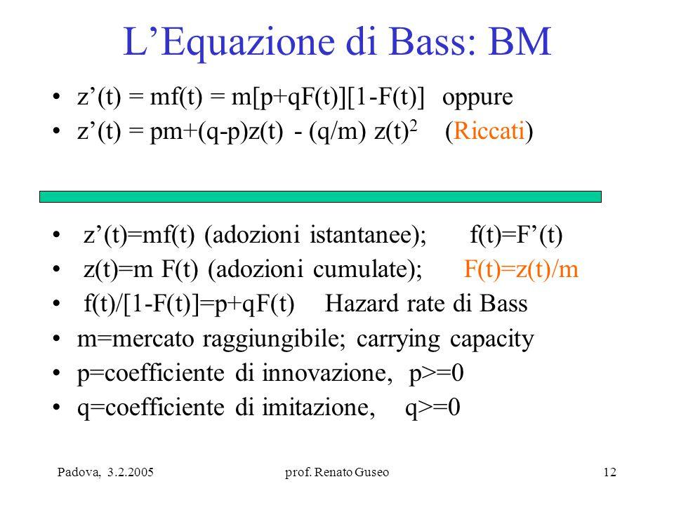Padova, 3.2.2005prof. Renato Guseo12 L'Equazione di Bass: BM z'(t) = mf(t) = m[p+qF(t)][1-F(t)] oppure z'(t) = pm+(q-p)z(t) - (q/m) z(t) 2 (Riccati) z