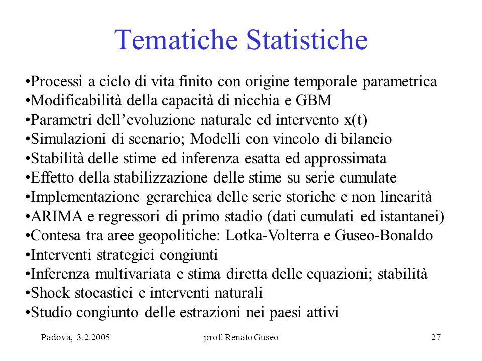Padova, 3.2.2005prof. Renato Guseo27 Tematiche Statistiche Processi a ciclo di vita finito con origine temporale parametrica Modificabilità della capa