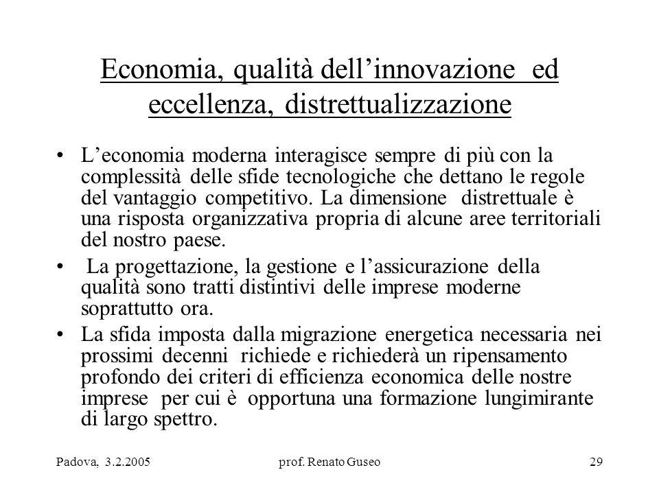 Padova, 3.2.2005prof. Renato Guseo29 Economia, qualità dell'innovazione ed eccellenza, distrettualizzazione L'economia moderna interagisce sempre di p