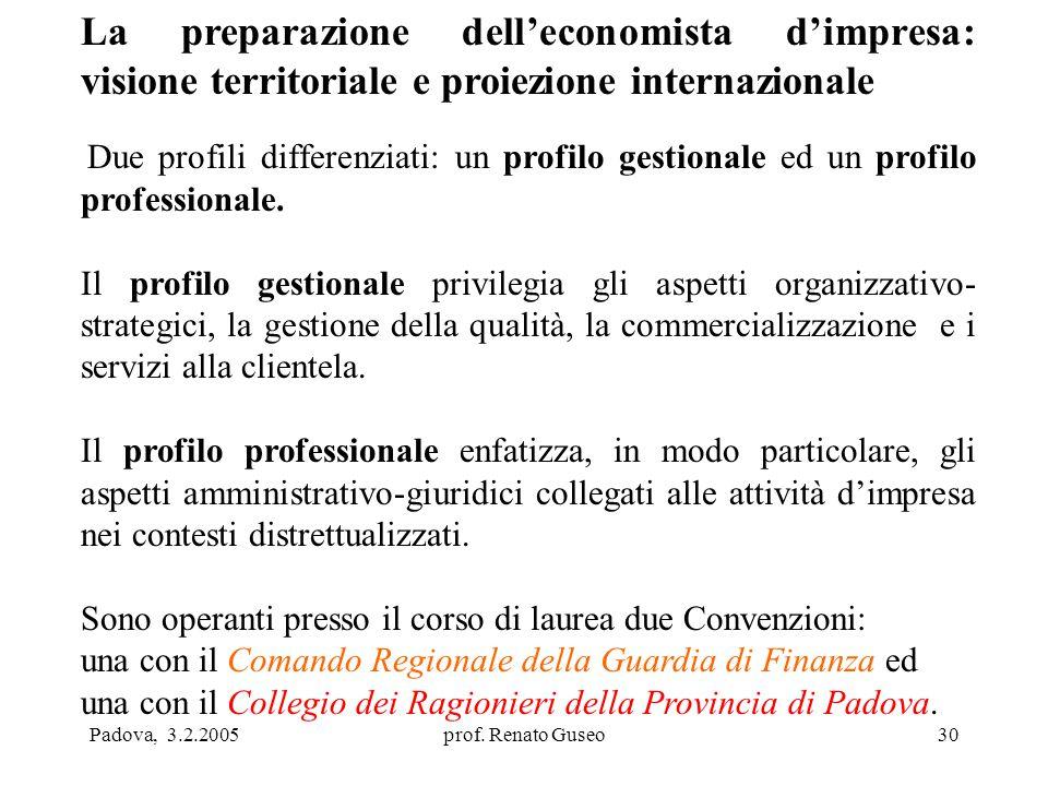 Padova, 3.2.2005prof. Renato Guseo30 La preparazione dell'economista d'impresa: visione territoriale e proiezione internazionale Due profili differenz