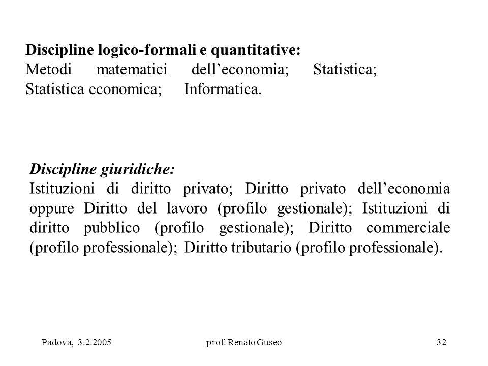 Padova, 3.2.2005prof. Renato Guseo32 Discipline logico-formali e quantitative: Metodi matematici dell'economia; Statistica; Statistica economica; Info