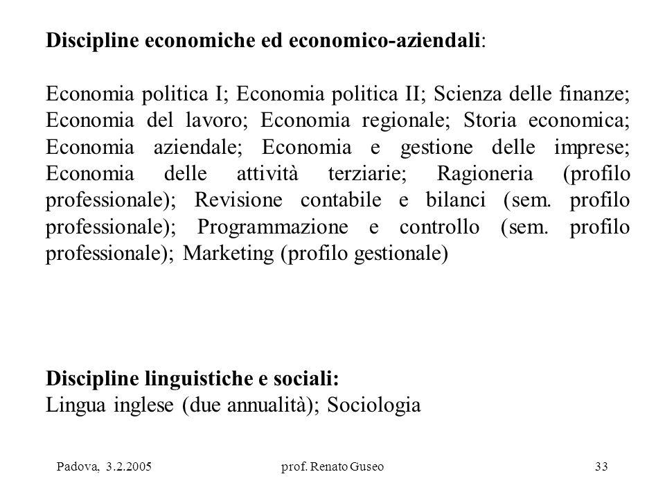 Padova, 3.2.2005prof. Renato Guseo33 Discipline economiche ed economico-aziendali: Economia politica I; Economia politica II; Scienza delle finanze; E