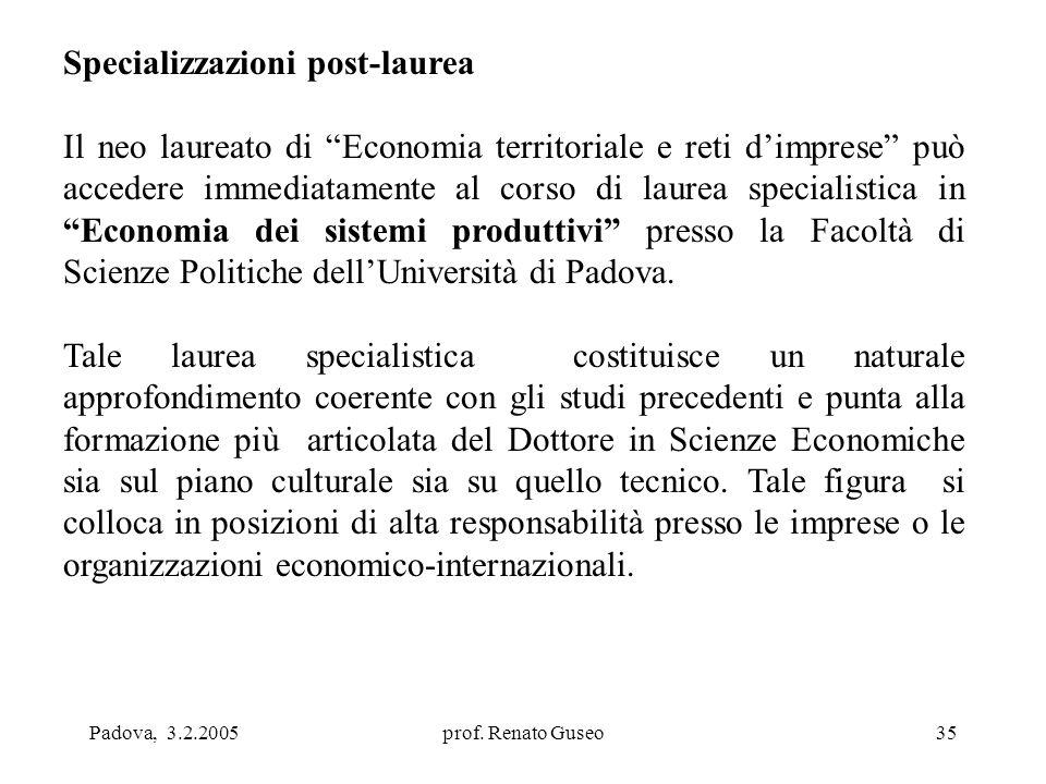 """Padova, 3.2.2005prof. Renato Guseo35 Specializzazioni post-laurea Il neo laureato di """"Economia territoriale e reti d'imprese"""" può accedere immediatame"""