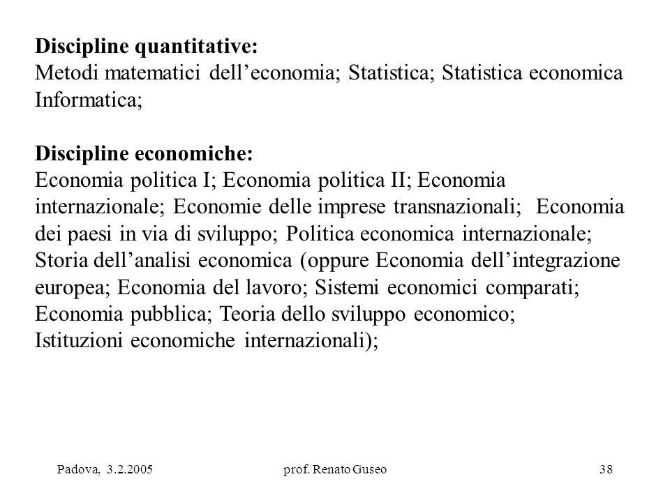 Padova, 3.2.2005prof. Renato Guseo38 Discipline quantitative: Metodi matematici dell'economia; Statistica; Statistica economica Informatica; Disciplin