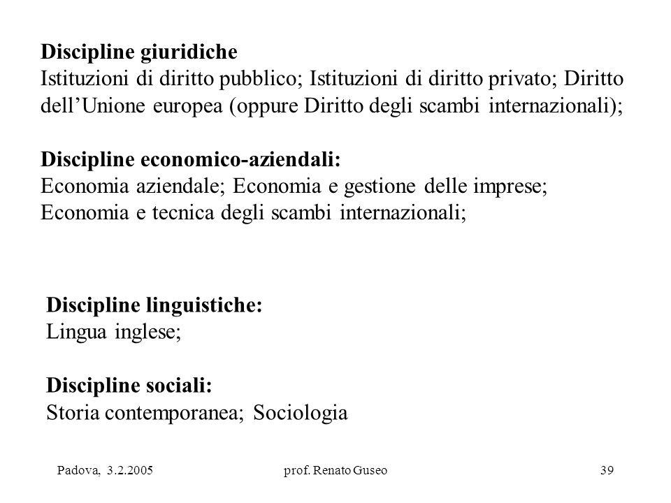 Padova, 3.2.2005prof. Renato Guseo39 Discipline giuridiche Istituzioni di diritto pubblico; Istituzioni di diritto privato; Diritto dell'Unione europe