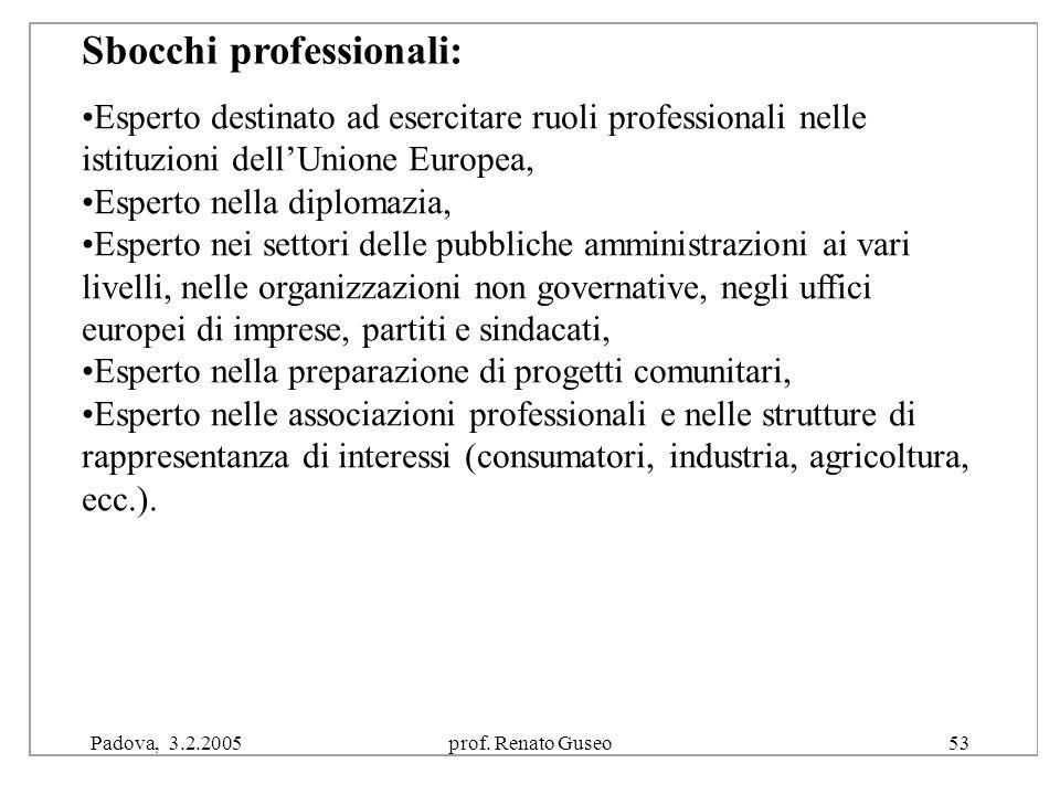 """Padova, 3.2.2005prof. Renato Guseo53 Conseguito il diploma di laurea in """"Politica e integrazione europea"""" sono diversi gli sbocchi lavorativi ai Esper"""