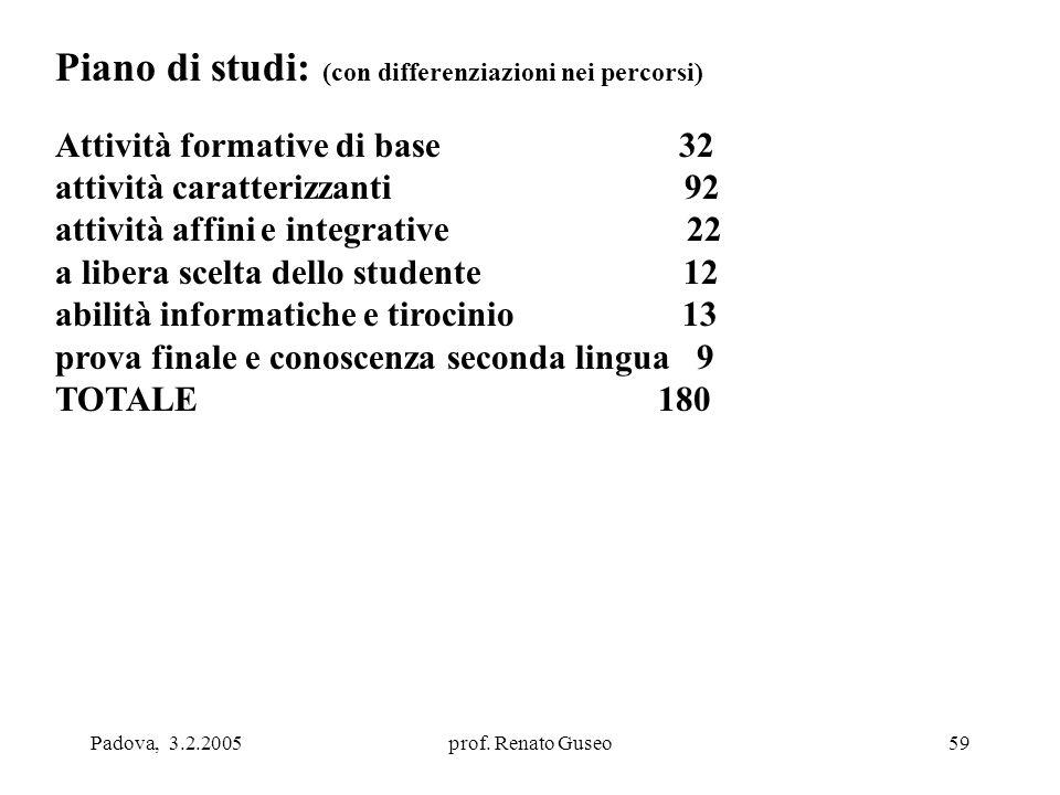 Padova, 3.2.2005prof. Renato Guseo59 Piano di studi: (con differenziazioni nei percorsi) Attività formative di base 32 attività caratterizzanti 92 att