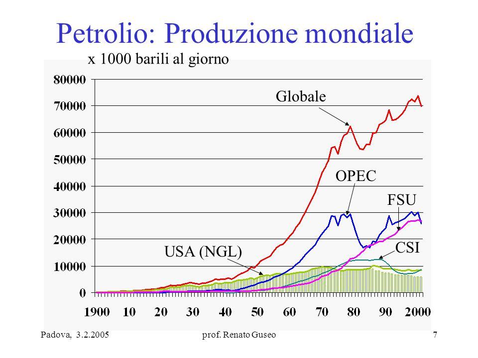 Padova, 3.2.2005prof. Renato Guseo7 Petrolio: Produzione mondiale x 1000 barili al giorno Globale OPEC USA (NGL) FSU CSI