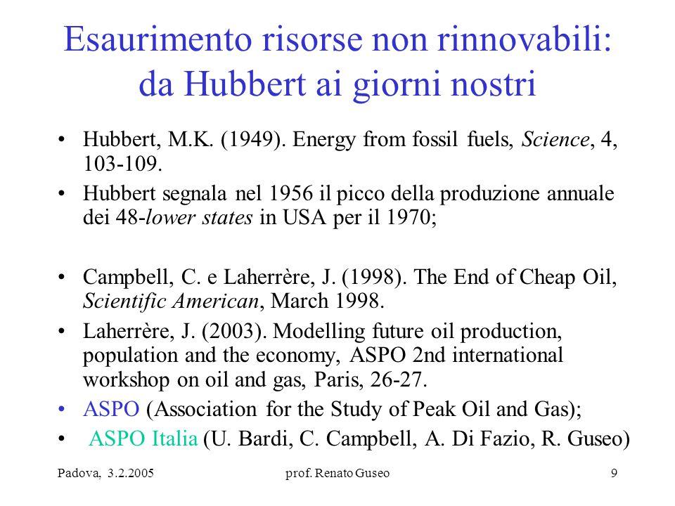 Padova, 3.2.2005prof. Renato Guseo9 Esaurimento risorse non rinnovabili: da Hubbert ai giorni nostri Hubbert, M.K. (1949). Energy from fossil fuels, S