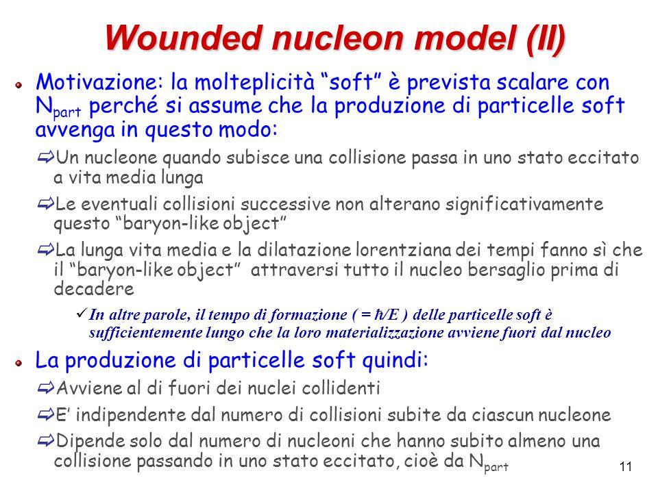 """11 Wounded nucleon model (II) Motivazione: la molteplicità """"soft"""" è prevista scalare con N part perché si assume che la produzione di particelle soft"""