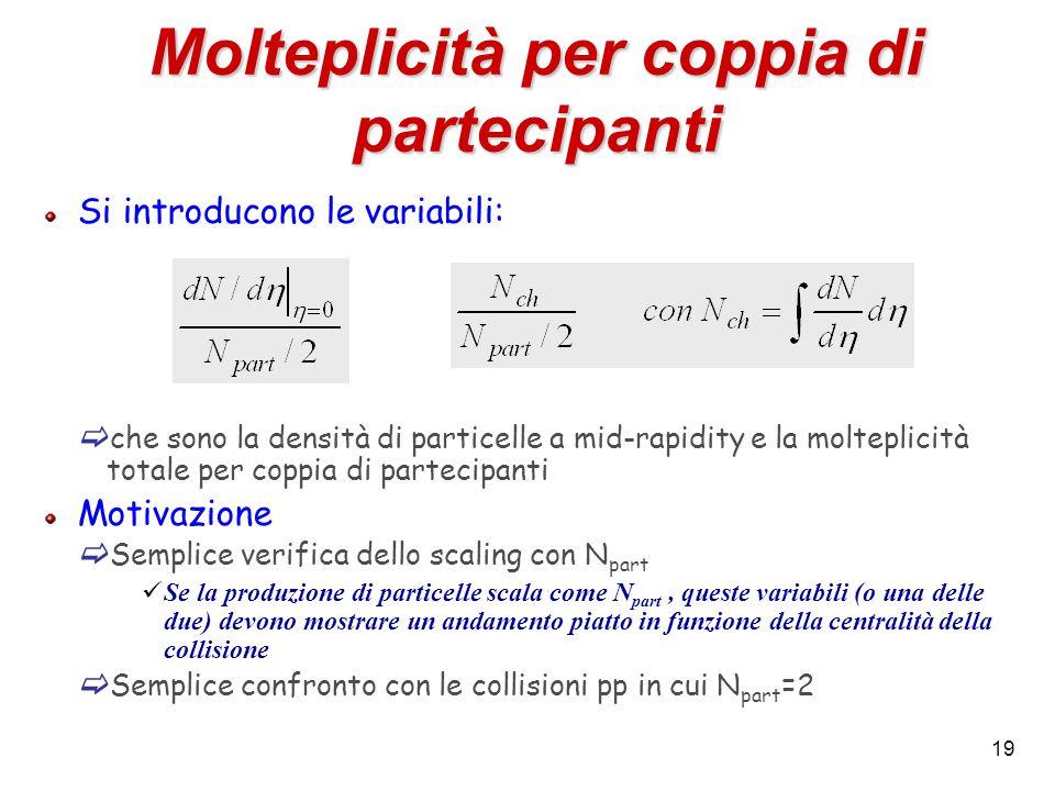 19 Molteplicità per coppia di partecipanti Si introducono le variabili:  che sono la densità di particelle a mid-rapidity e la molteplicità totale pe