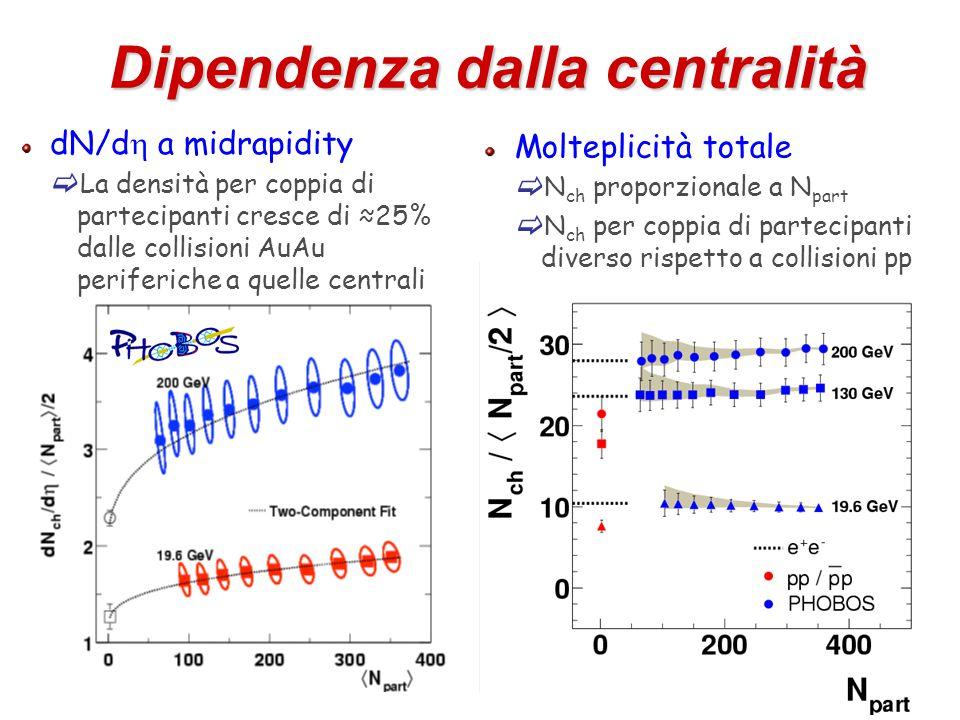20 Dipendenza dalla centralità dN/d  a midrapidity  La densità per coppia di partecipanti cresce di ≈25% dalle collisioni AuAu periferiche a quelle