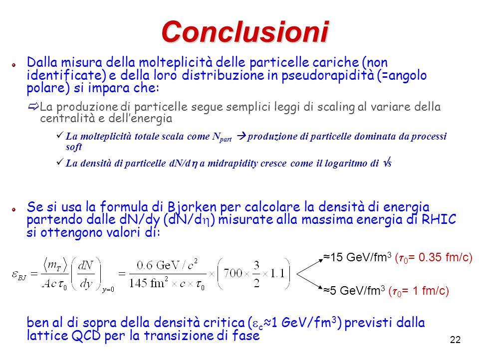 22 Conclusioni Dalla misura della molteplicità delle particelle cariche (non identificate) e della loro distribuzione in pseudorapidità (=angolo polar