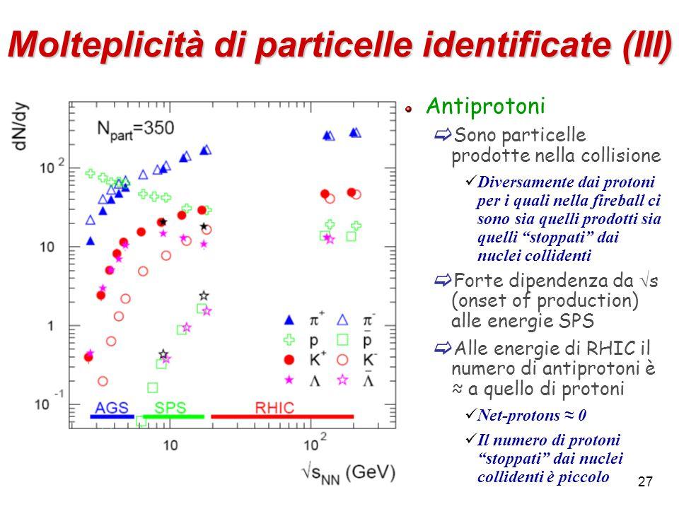 27 Molteplicità di particelle identificate (III) Antiprotoni  Sono particelle prodotte nella collisione Diversamente dai protoni per i quali nella fi