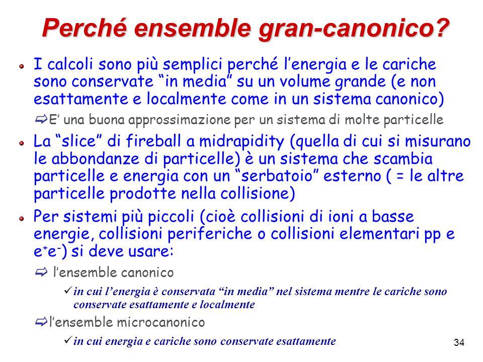 """34 Perché ensemble gran-canonico? I calcoli sono più semplici perché l'energia e le cariche sono conservate """"in media"""" su un volume grande (e non esat"""