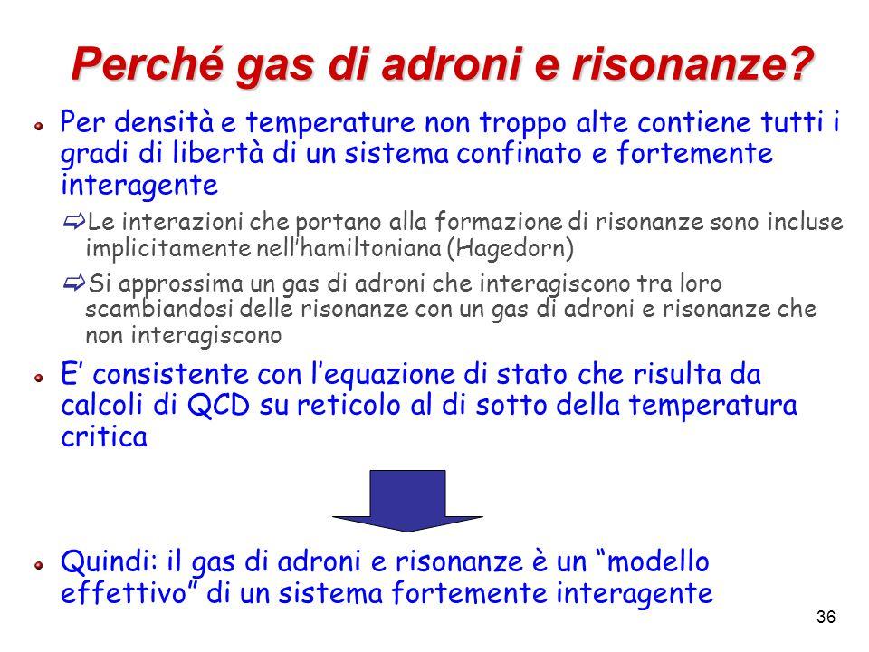 36 Perché gas di adroni e risonanze? Per densità e temperature non troppo alte contiene tutti i gradi di libertà di un sistema confinato e fortemente