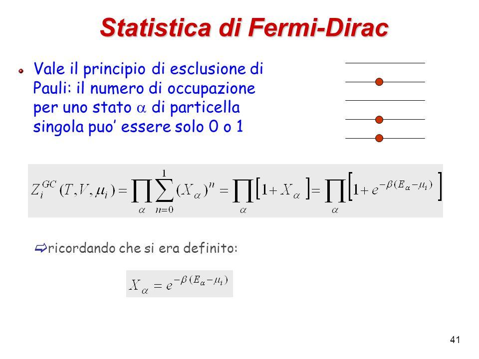 41 Statistica di Fermi-Dirac Vale il principio di esclusione di Pauli: il numero di occupazione per uno stato  di particella singola puo' essere solo