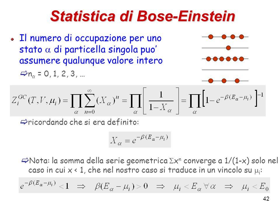 42 Statistica di Bose-Einstein Il numero di occupazione per uno stato  di particella singola puo' assumere qualunque valore intero  n  = 0, 1, 2, 3