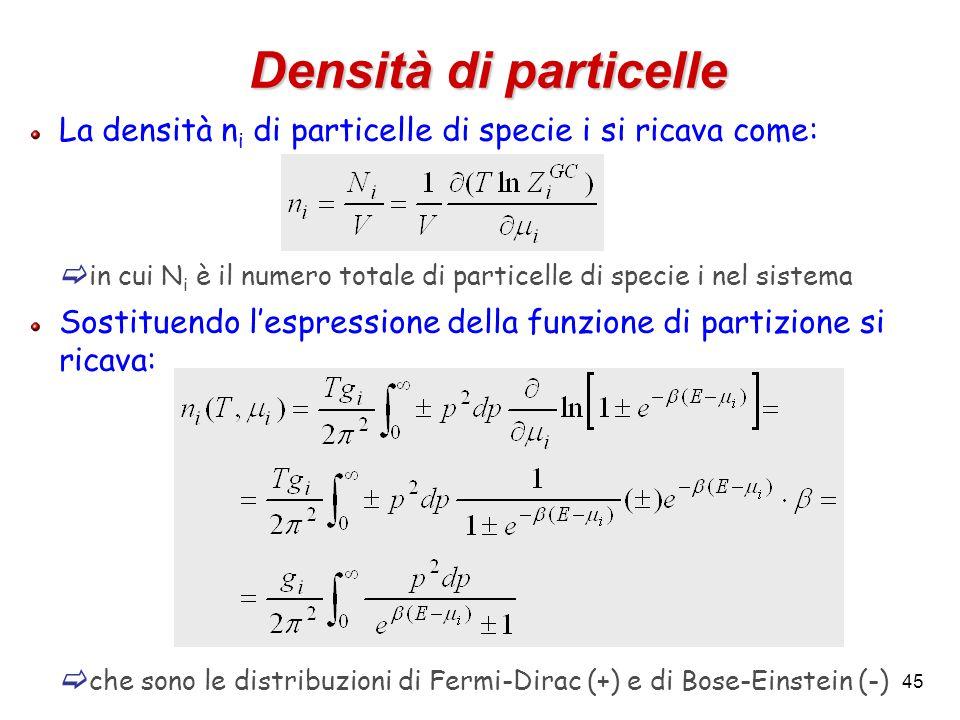 45 Densità di particelle La densità n i di particelle di specie i si ricava come:  in cui N i è il numero totale di particelle di specie i nel sistem