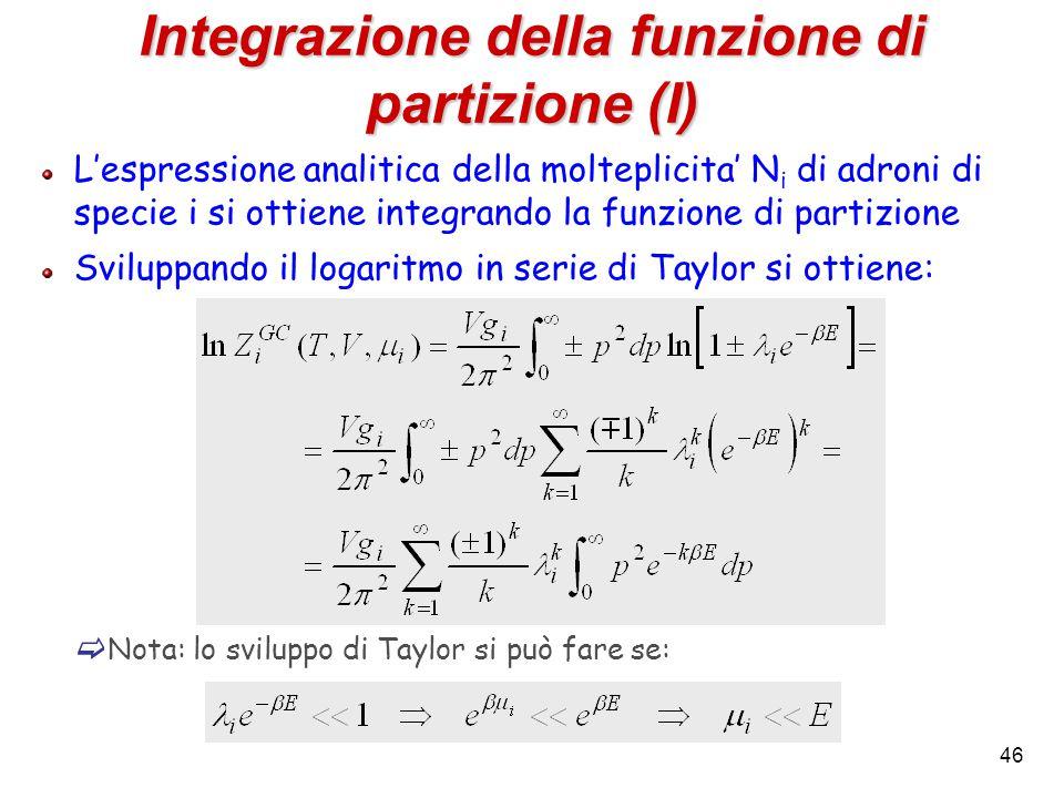 46 Integrazione della funzione di partizione (I) L'espressione analitica della molteplicita' N i di adroni di specie i si ottiene integrando la funzio